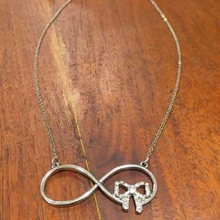 Silver Infinity Bow Necklace