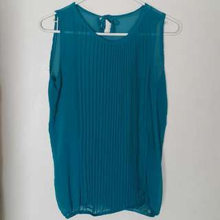 Sheer Top With Pleated Top