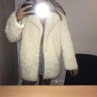 White Fashion Shaggy Faux Fur Look Jacket Oversized