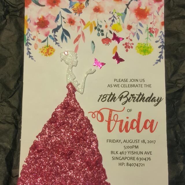 18th Birthday Invitation Card Design Craft Handmade On Carousell