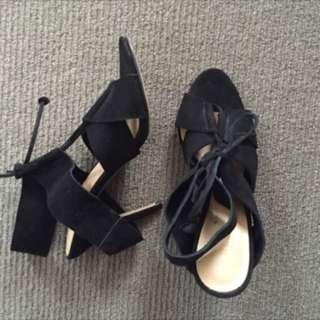 Seed Black Suede Heels