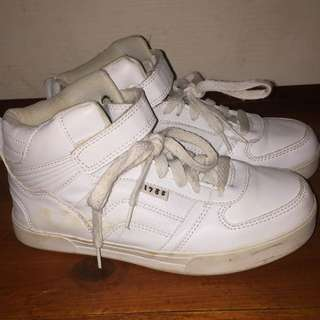 """1988"" White High Top Shoes"