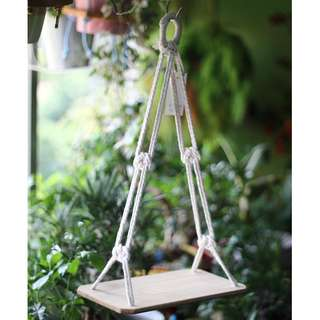 DS004 Hanging Paulownia Wood Shelf (Plant not included)