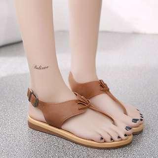 韓版新款羅馬人字拖時尚百搭女涼鞋露趾夾腳涼鞋