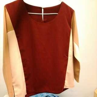 韓版拼接個性八分袖上衣