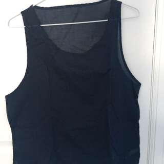 Sheer Navy Blue Tank Top