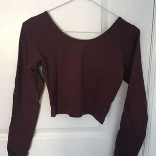 Burgundy Long-Sleeve Crop Top