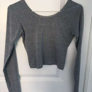 Grey Long-Sleeve Crop Top