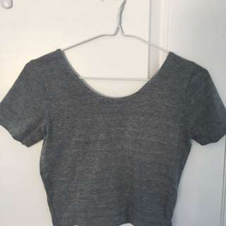 Grey Short-Sleeve Crop Top