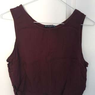 Burgundy Cropped Tank Top
