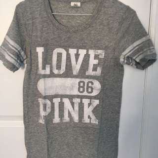 Grey T-Shirt w/ Pink By Victoria Secret Logo