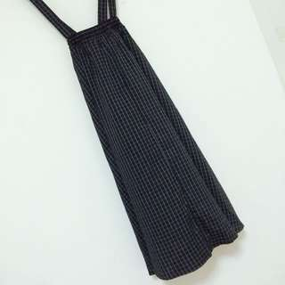黑色格子吊帶連身裙  有實穿 帶子可以拆 顯瘦 可愛
