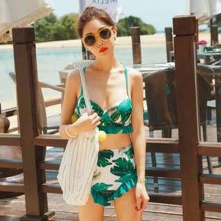 泰國清新樹葉印花性感高腰比基尼三件套 女游泳衣#我有泳裝要賣