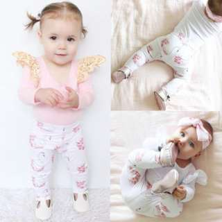 ✔️STOCK - 2pc SWEET BABY PINK SWAN BABY TODDLER GIRL CASUAL LONG ROMPER AND LEGGING PANTS KIDS CHILDREN CLOTHING