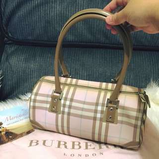 Burberry London Pink Nova Check Barrel Bag