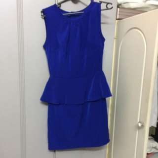 Velvet Blue Dress Formal Preloved