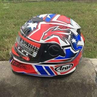 Arai red blue double visor sport helmet