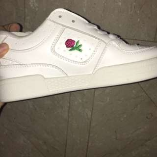 instock;unif inspired white rose shoes