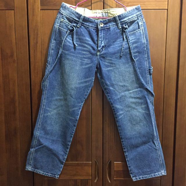 可拆式刷色牛仔吊帶8分褲~含運價!