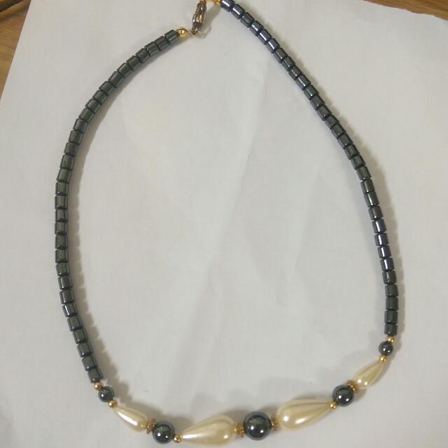 石膽石珍珠造型項鏈