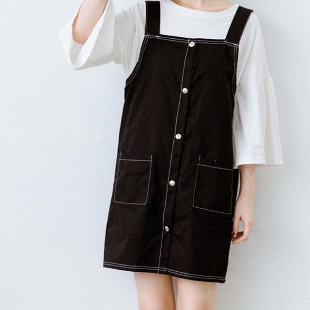 (全新)排扣吊帶裙