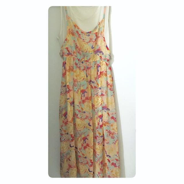 自然花樣雪紡長洋裝#我的旋轉衣櫃