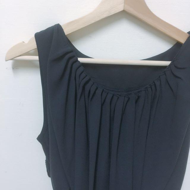 深藍氣質雪紡洋裝