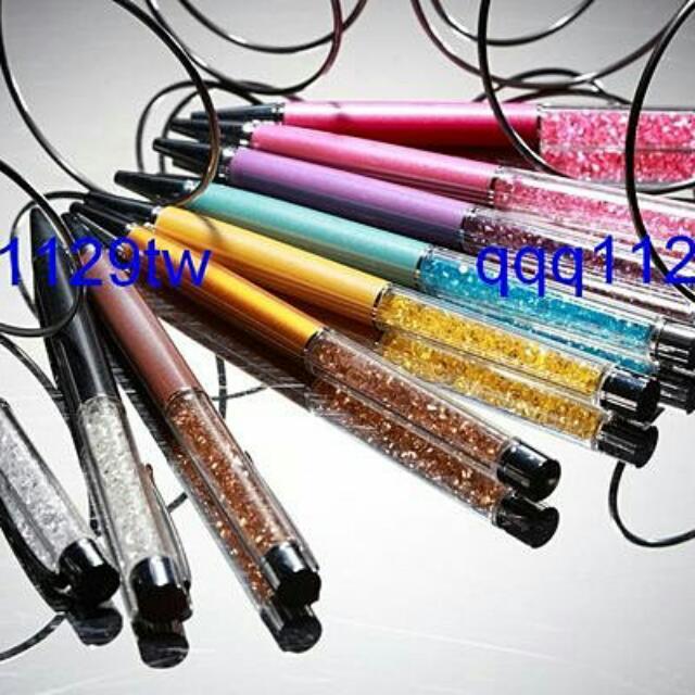 施華洛世奇 同款珠光水晶筆(晶鑽黑/白/金色/粉紅/桃紅/粉紫/水藍/黃)/觸控筆水鑽筆