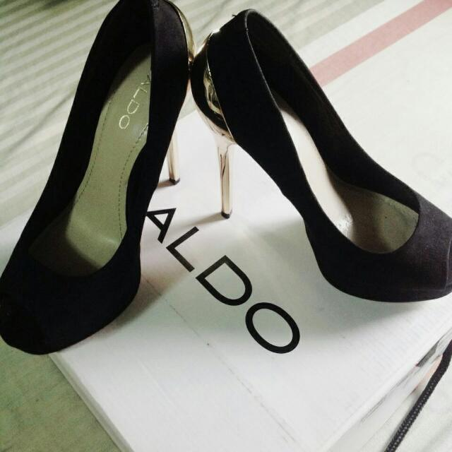 Aldo Black And Gold High Heeled Shoes