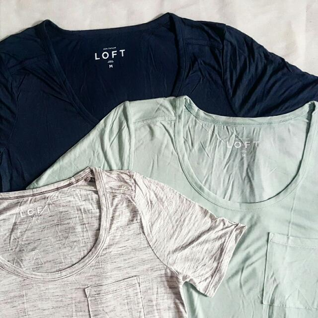 ANN TAYLOR LOFT POCKET TEES