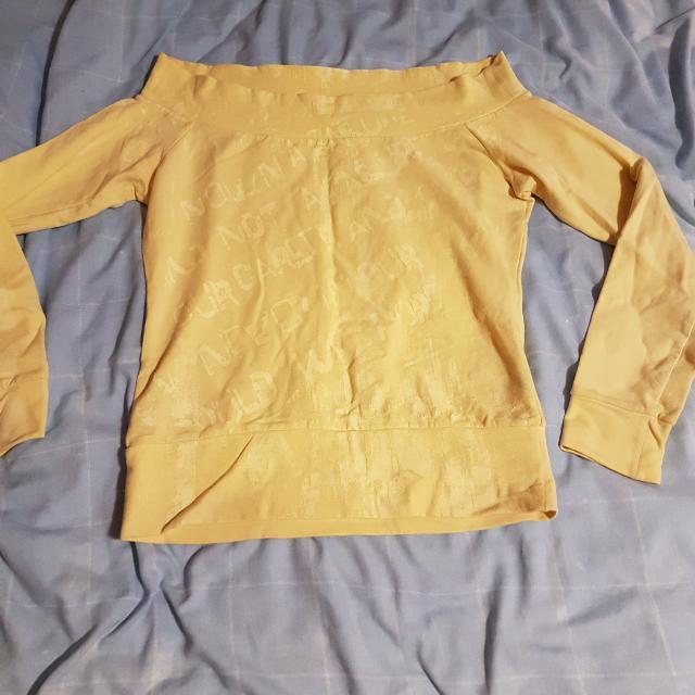 Bardot Yellow Off Shoulder Jumper Top