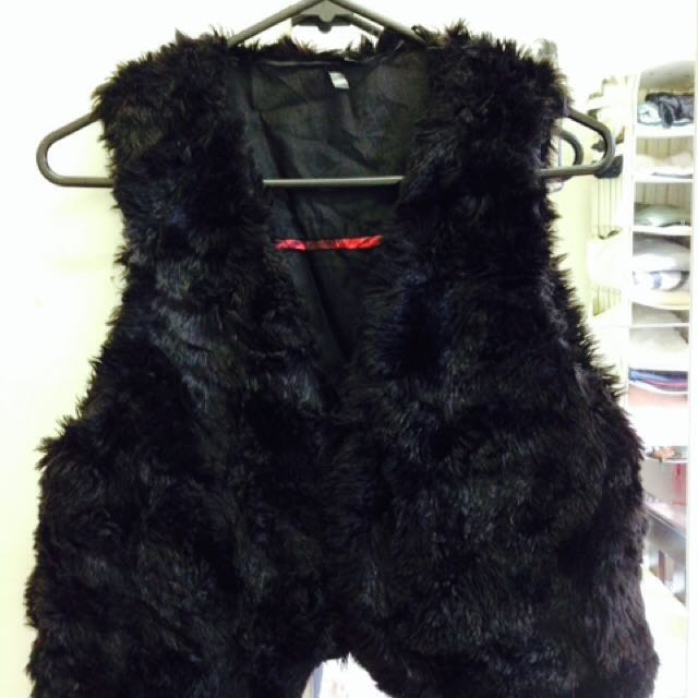 Black Fake Fur Vest