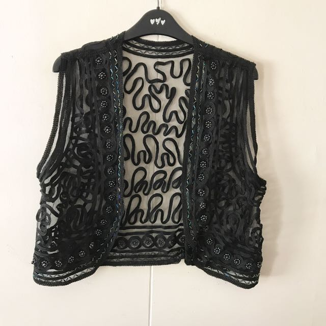 Black Patterened Vest