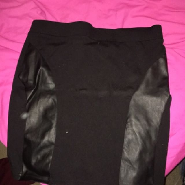 Black Skirt Leather Detailing