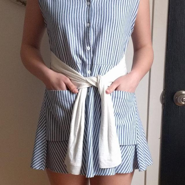 Blue and white striped preppy Boutique 1861 dress