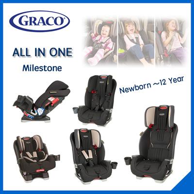 Brand NewGraco Milestone All In 1 Convertible Car Seat Aluminium