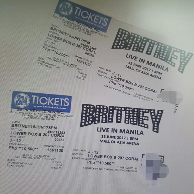 Britney Spears Live In Manila Tickets- Lower Box