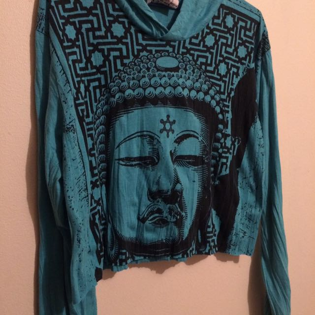 Buddha Hooded Crop Sz M