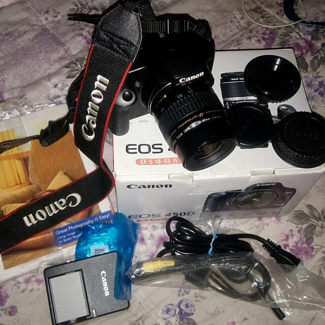 Canon EOS 450D Zoom Lens Ef-S35-80mm f3.5-5.6 IS Wide Strap Ew-100DBlll battery Charger Lc-e5e battery Pack Lp-e5 interface Cable Vc-100