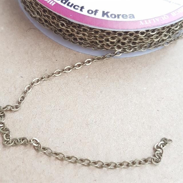 Non Rust Series . Beadspin . Chain . in roll . Value Buy . 5meter . Length . Handmade . Craft . Korea Made