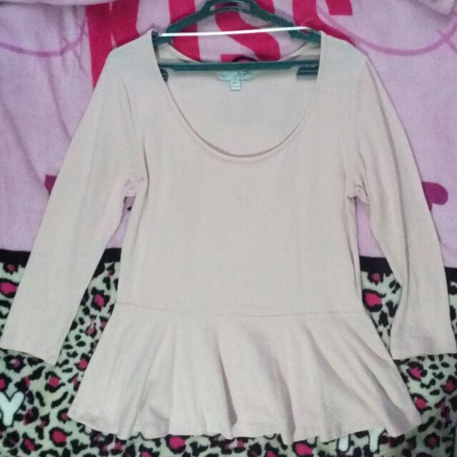 Cotton On Baby Pink Peplum Top