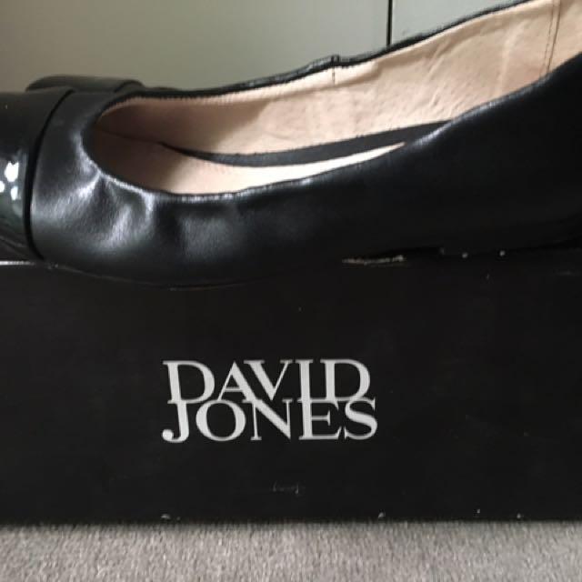 David Jones Black Flats Size 9