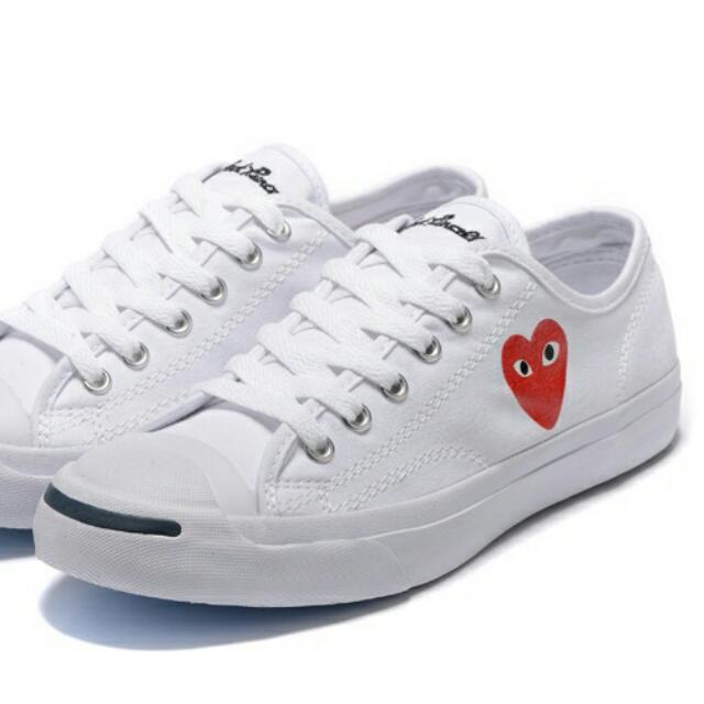 Eur40 ○ Japan CDG Play X Jack Purcell Converse Canvas Shoe 👉 White ... bfc9687ff