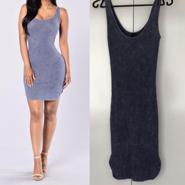 Fashion Nova- Washed Ashore Dress - Navy size S - worn once -$25