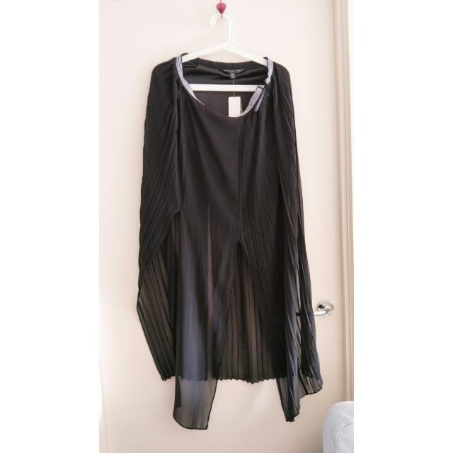 FOREVER NEW size 12 Black Cassidy Split Pleated Skirt BNWT