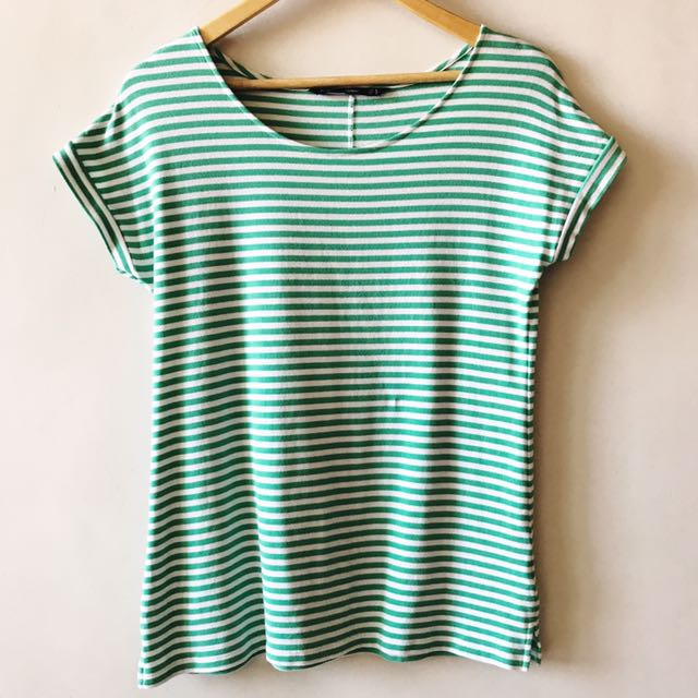 ForMe Mint Green and White Stripes Top
