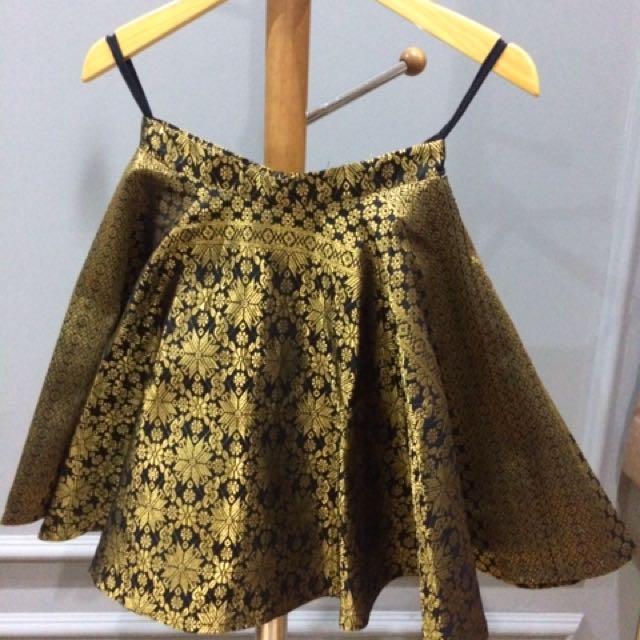 Gold Batik A Line Skirt