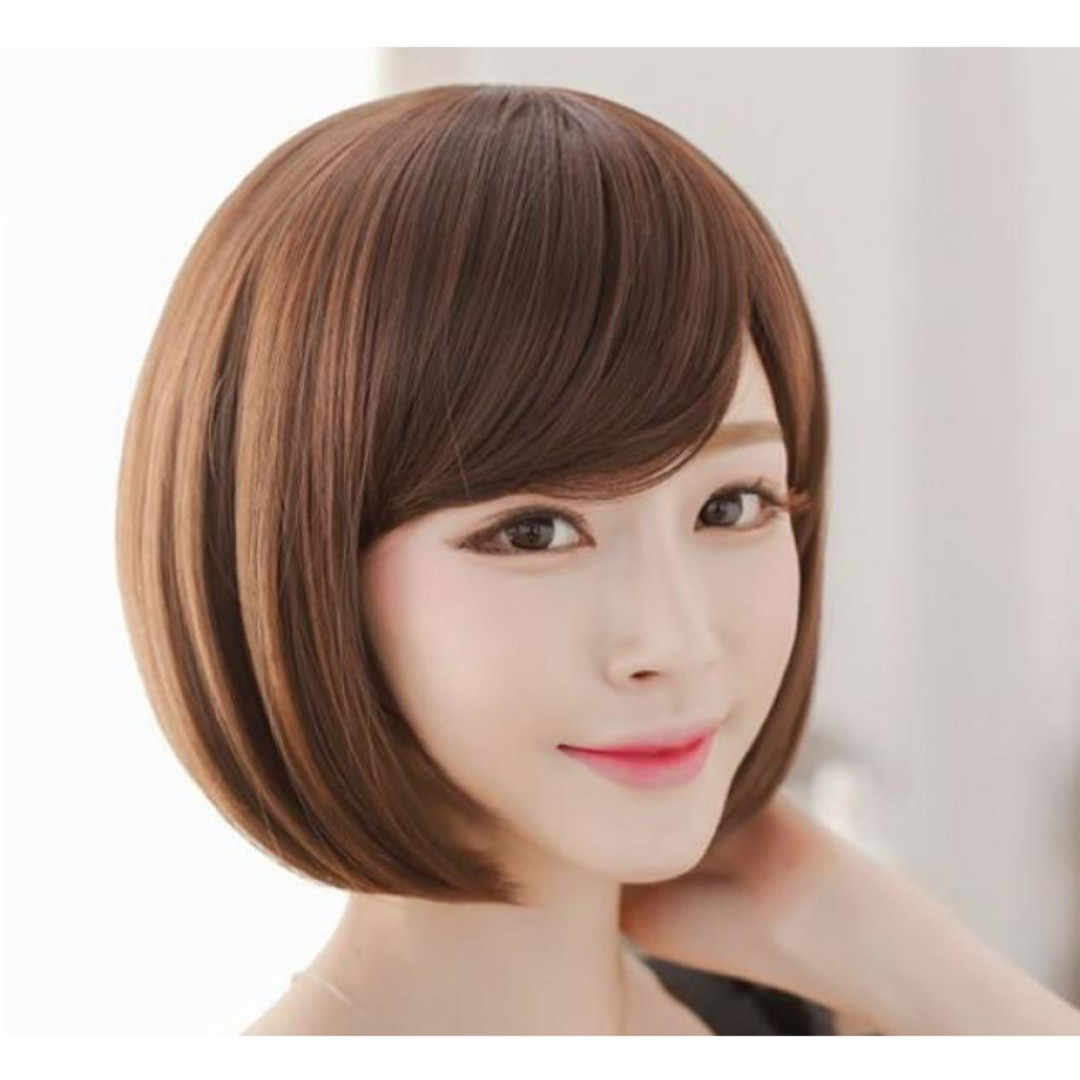 Hair Wig Rambut Palsu Bob Poni Pendek Light Brown FREE Hairnet