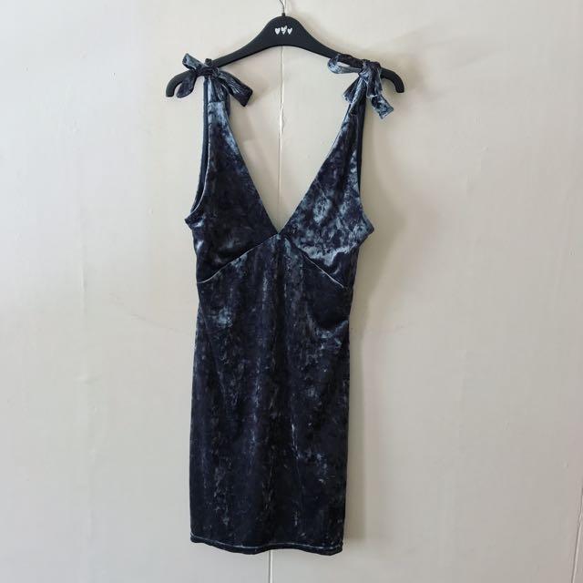H&M Gray Velvet Dress