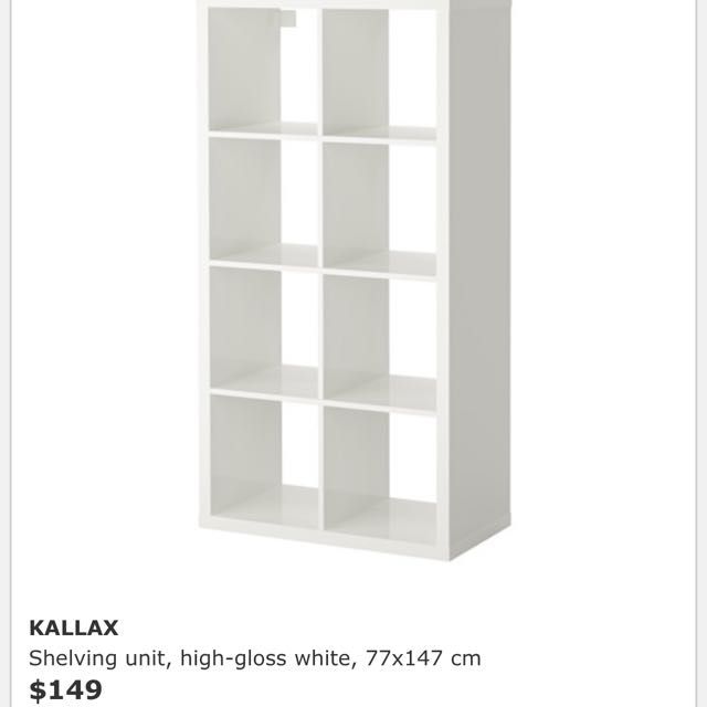 the latest b5c5b b10f1 IKEA KALLAX White Gloss Book Shelf on Carousell